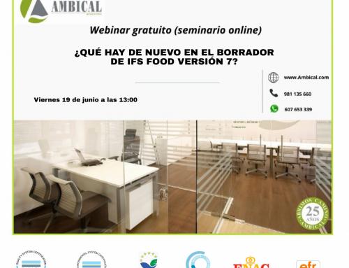 """Webinar gratuito """"¿QUÉ HAY DE NUEVO EN EL BORRADOR DE IFS FOOD VERSIÓN 7?"""""""