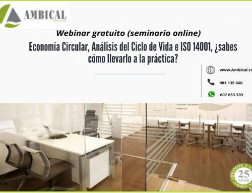 """Webinar gratuito """"Economía Circular, Análisis del Ciclo de Vida e ISO 14001, ¿sabes cómo llevarlo a la práctica?"""""""