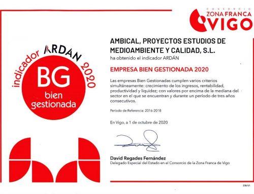 """AMBICAL OBTIENE EL CERTIFICADO ARDAN """"EMPRESA BIEN GESTIONADA 2020"""""""